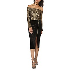 Dorothy Perkins - Gold plisse bardot top