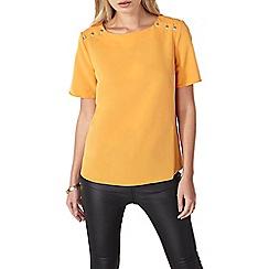 Dorothy Perkins - Orange button shoulder t-shirt