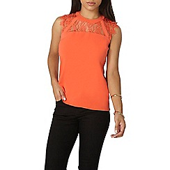 Dorothy Perkins - Coral lace detail shell top