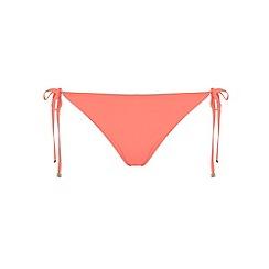 Dorothy Perkins - Coral plain tie side bikini bottom