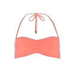 Dorothy Perkins - Coral plain bandeau bikini top