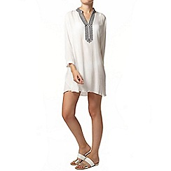 Dorothy Perkins - Cream embroidered shirt dress