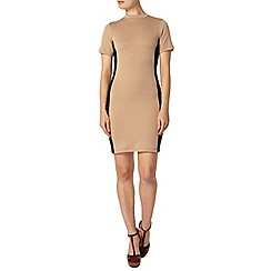 Dorothy Perkins - Ponte camel high neck tube dress