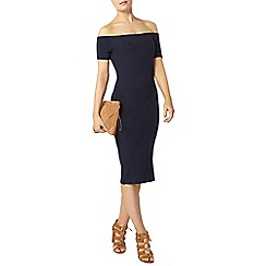 Dorothy Perkins - Navy short sleeve bardot bodycon dress
