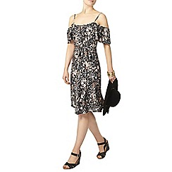 Dorothy Perkins - Floral printed cold shoulder fit and flare dress
