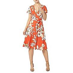 Dorothy Perkins - Orange floral wrap dress