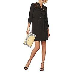 Dorothy Perkins - Black satin shirt dress