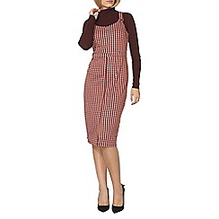 Dorothy Perkins - Red and black check midi pinny dress