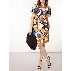 Dorothy Perkins - Rust and ivory geo print bardot dress