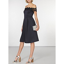 Dorothy Perkins - Navy lace trim bardot fit and flare dress