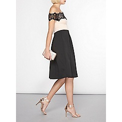 Dorothy Perkins - Nude lace top fit and flare dress