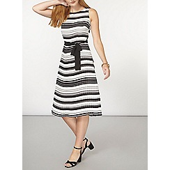 Dorothy Perkins - Mono stripe pleated fit and flare dress