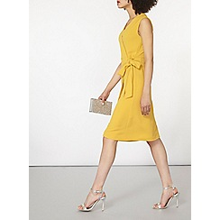 Dorothy Perkins - Mustard crepe wrap pinny dress
