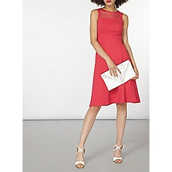 Dorothy Perkins - Pink mesh yoke fit and flare dress