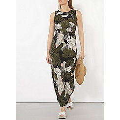 Dorothy Perkins - Black and coral palm print maxi dress