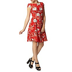 Dorothy Perkins - Red linear floral fit and flare dress