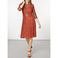 Dorothy Perkins - Rust lace midi dress
