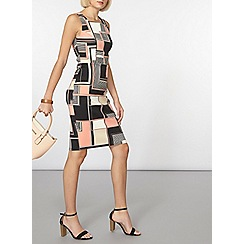 Dorothy Perkins - Pink geo scuba pencil dress