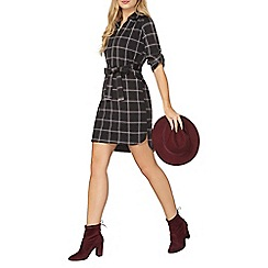 Dorothy Perkins - Grey and black checked shirt dress