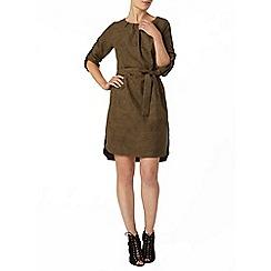 Dorothy Perkins - Khaki faux suedette shift dress