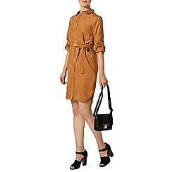 Dorothy Perkins - Tan suedette shirt dress