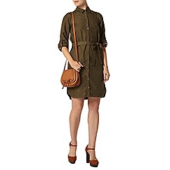 Dorothy Perkins - Khaki suedette shirt dress