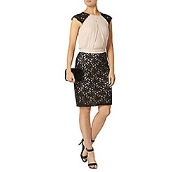 Dorothy Perkins - Nude and black lace pencil dress