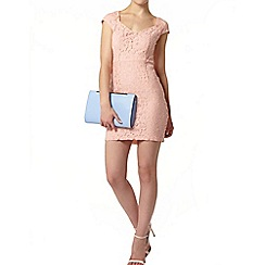 Dorothy Perkins - Blush lace open back pencil dress
