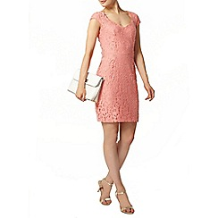Dorothy Perkins - Coral lace open back pencil dress