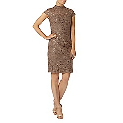 Dorothy Perkins - Taupe lace sequin pencil dress