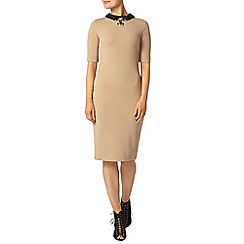 Dorothy Perkins - Camel textured bodycon dress with collar
