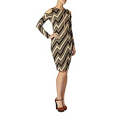 Dorothy Perkins - Gold zig zag print bodycon dress