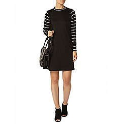 Dorothy Perkins - Black and ecru stripe bodycon dress