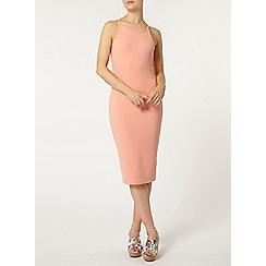 Dorothy Perkins - Coral high neck bodycon dress