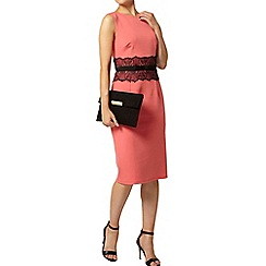 Dorothy Perkins - Coral lace waist pencil dress