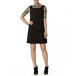 Dorothy Perkins - Black ponte pinafore dress