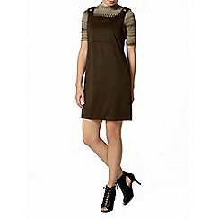 Dorothy Perkins - Khaki ponte pinafore dress