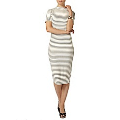 Dorothy Perkins - Ivory rib stripe bodycon dress