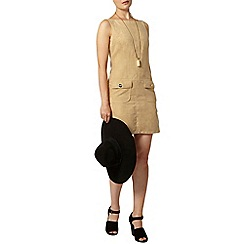 Dorothy Perkins - Camel suedette pinafore dress