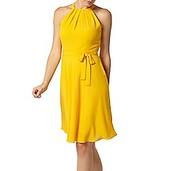 Dorothy Perkins - Yellow wrap back fit and flare dress