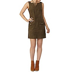 Dorothy Perkins - Khaki faux suedette pinafore dress