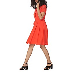 Dorothy Perkins - Red lace fit and flare dress