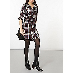 Dorothy Perkins - Black zip check shirt dress