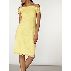 Dorothy Perkins - Lemon bardot lace pencil dress