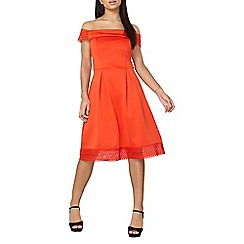 Dorothy Perkins - Orange lace trim bardot dress