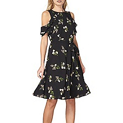 Dorothy Perkins - Black floral fit and flare tea dress