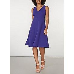 Dorothy Perkins - Purple scuba stripe fit and flare dress