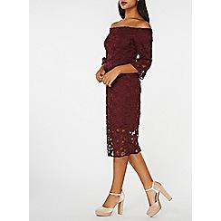 Dorothy Perkins - Wine lace bardot shift dress