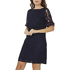 Dorothy Perkins - Navy lace flute sleeve shift dress