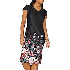 Dorothy Perkins - Black placement floral print pencil dress